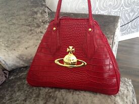 Vivienne Westwood red croc large bowling bag with gold orb