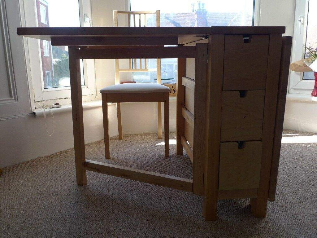 Ikea Foldable Dining Room Table Several Drawers In The Middle For