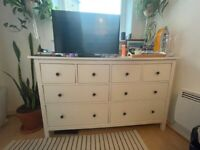 BARGAIN FULL BEDROOM FURNITURE WARDROBE, CHEST OF DRAWS, SIDE TABLE & BED FRAME