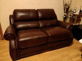 Brown Leather Recliner Sofa Set of 3 x 2 Seater Sofas
