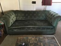 Sofa, genuine antique 3 seater, Chesterfield green velvet