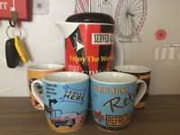 Retro design coffee plunger and cups