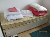 2/ft divan bed with underneath storage spare guest room very little used c/with mattress