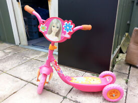 BARBIE TRI-SCOOTER, THREE WHEELED, GOOD FOR LEARNING. IN EXCELLENT CONDITION