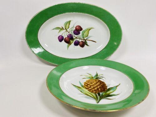Vintage Oval Platter and Vegetable Bowl, Green Rim, Olives + Pineapple, 2 pcs
