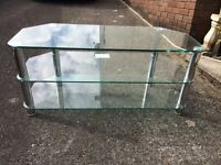 Toughened glass TV stand unit