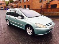 2002 PEUGEOT 307 1.6L PETROL SW ESTATE MOTD TIL OCT, FIXINGS FOR TO MAKE 7-SEATER TRADE IN WELCOME