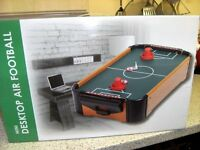 NEW MINI AIR FOOTBALL BOARD ,COMPLETE.BOXED.WITH BATTERIES