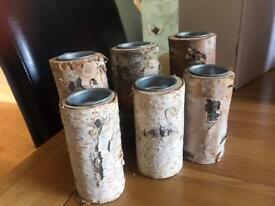 Rustic wooden tea light holders