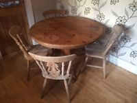 CHUNKY PINE FARMHOUSE STYLE TABLE WITH 4 CHAIRS
