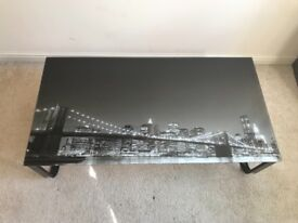 Glass Table with image of Brooklin Bridge RRP £75 - Collection Only