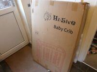 HI-FIVE (HI-5IVE) BABY CRIB / CRADLE / COT / FIRST BED 0-3yrs /TODDLER, BRAND NEW IN BOX/UNUSED BNIB