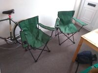 2X Green Telescopic Camping Chairs