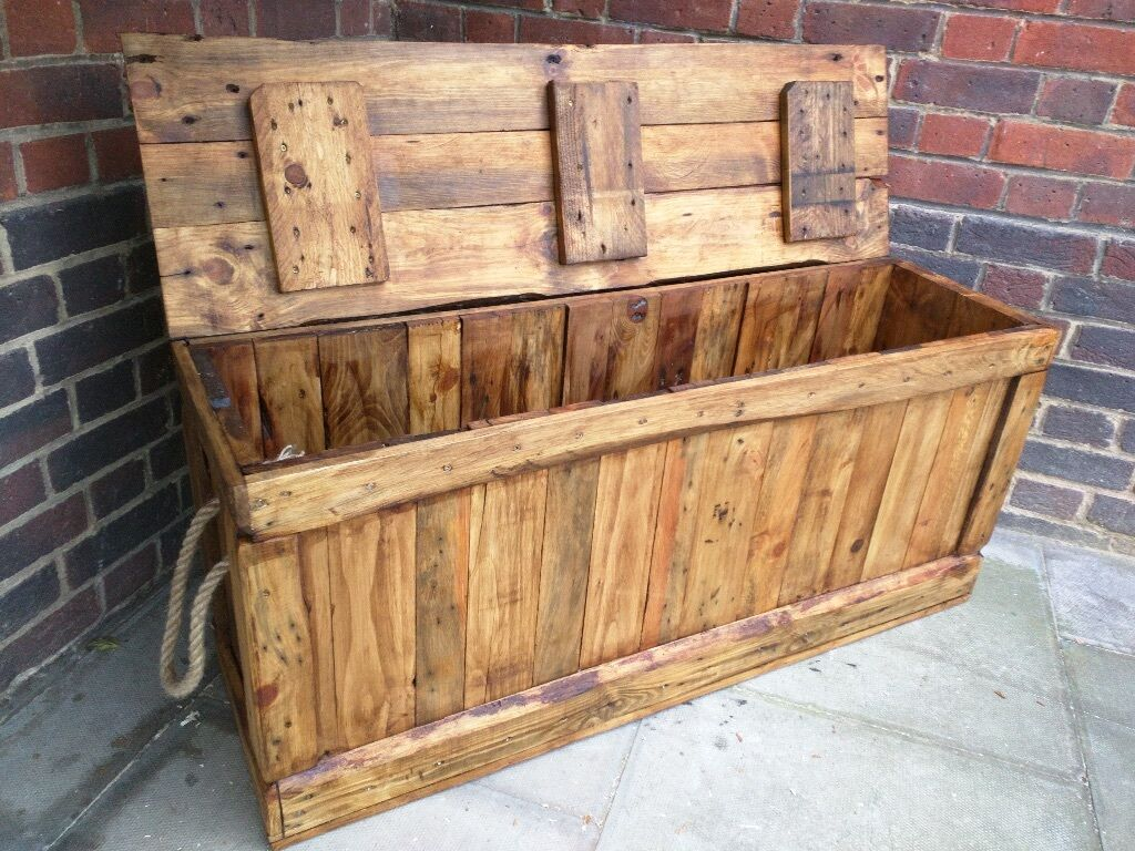 Long Rustic Trunk Bench Storage Chest Blanket Box