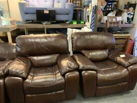 Brown leather sofa with two armchairs