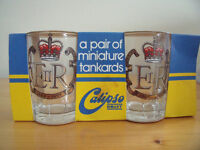Pair of vintage (1977) Queen's Silver Jubilee miniature glass tankards in original packaging.£5 ovno
