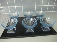 Set of 6 glass sundae dishes