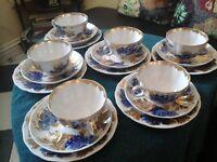 Lomonosov Imperial Fine White Bone China 18 pcs Tea Set Mineral Cobalt & 22KGold