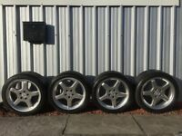 "GENUINE MERCEDES SL55 AMG 18"" 4 X ALLOY WHEELS WITH GOOD CONTINENTAL TYRES"