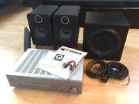HiFi system - NAD C320BEE amplifier, Q Acoustics 2020i speakers, REL Q200E subwoofer + extras