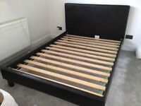 Standard double brown leather bed frame - v good condition