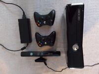 Xbox 360 250GB Slim + Kinect, two controllers and bundle of 18 top games