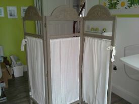 French shabby chic screen in grey with linen/cotton fabric