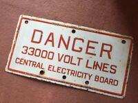 Vintage Electricity Board Sign