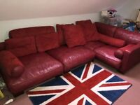 Red Leather Corner modular settee