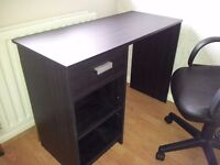 Black desk, one drawer, two shelves, good condition