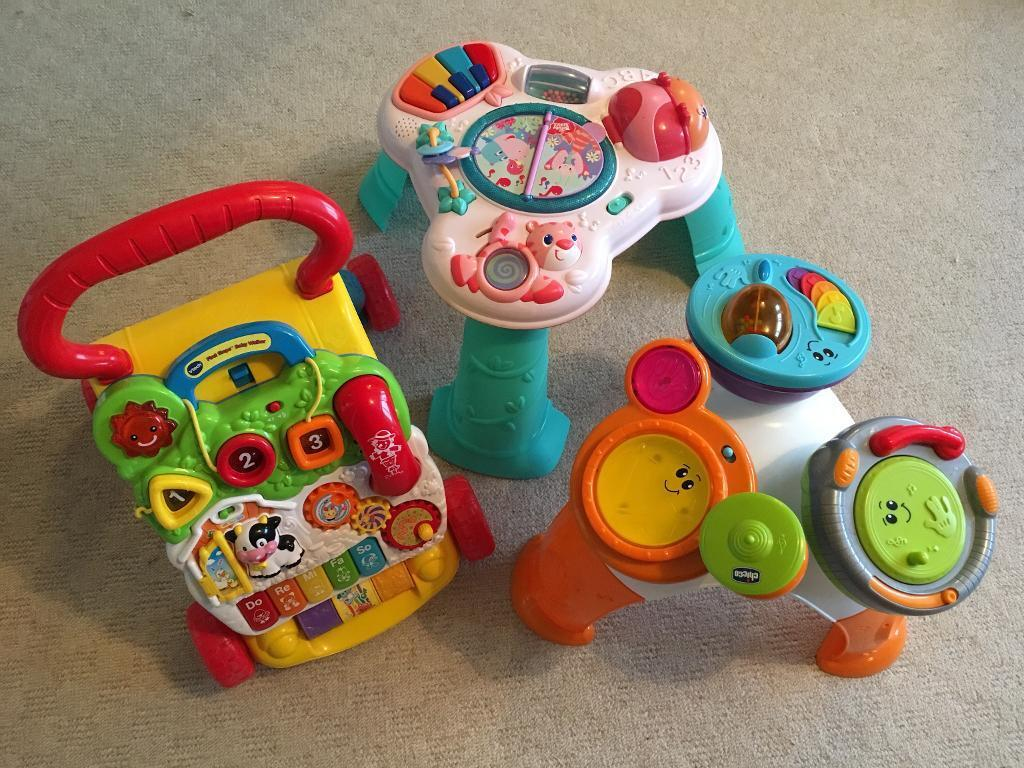 Baby walker and play tables. Set of 3 toys.