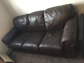 3 seater brown leather look sofa excellent condition pick up Lichfield only!