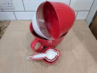 Red & White baking equipment set: bowls, measuring cups & spoons