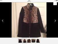 Primark black coat leopard across top zip fasten lovely on 10