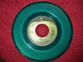 Nice Collectable Vintage JOHN & YOKO Happy Xmas 1971 US Issue 7 Inch Single In Green Vinyl.