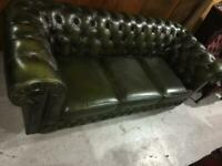 3 seater green leather chesterfield sofa