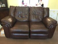 Free three and two seater brown leather sofas free to collect today and tomorrow