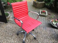 Adjustable Red Leather Chair with Stainless Steel Arm Rests - Excellent Condition