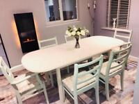 Dining table and six chairs extending