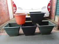 FOUR LARGE PLANTPOTS AND ONE SMALLER ONE FROM b&q