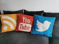A set of 3 well known Icon Cushions