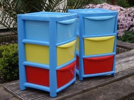 3 DRAWER STORAGE TOWERS ON CASTORS £7 EACH .