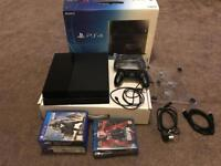 PS4 500gb 6 games 3 Blu-rays 2pads leads and fan