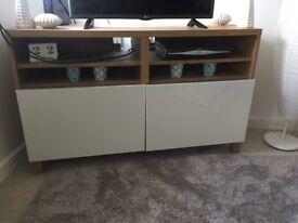 Ikea Besta oak effect tv unit with glossy white doors