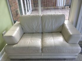 Great condition two / seater cream leather sofa, DFS