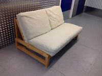 FUTON COMPANY LINEAR Sofa bed. 2 Seater Double Cream Futon Sofabed + Birch Frame + I CAN DELIVER