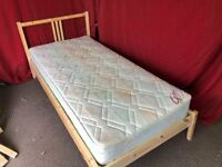 IKEA PINE SINGLE BED WITH MATTRESS,CAN DELIVER