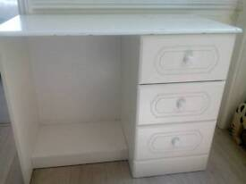 Whitewood three drawer dressing table