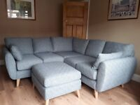 Next - Wilson small grey corner sofa and footstool - less than 12 months old