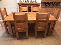Chunky oak dining table and chair set